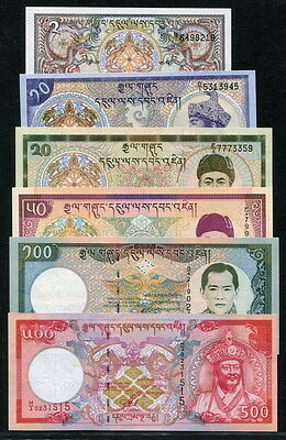Bhutan 1986-2/10, 2000-20/50/100/500 Ngultrum, 6PCS All UNC