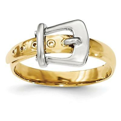 14k Two-tone Gold Polished Buckle Ring K5784 Size 7