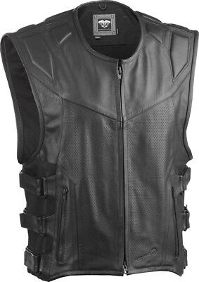 Highway 21 Adult Motorcycle Blockade Black Leather Vest Size S-4XL