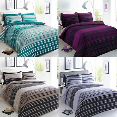 Texture Stripe Luxury Duvet Covers Quilt Cover Reversible Bedding Sets All Sizes