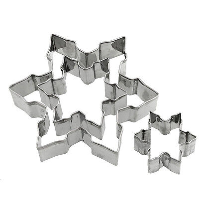 3pcs Snowflake Shape Cookie Cutter Stainless Steel Snow Form Cookie Mold Mould