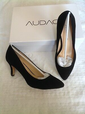 New Audace-Charlise Women's Black Leather Suede Mid High Shoes Pumps-Size 7.5