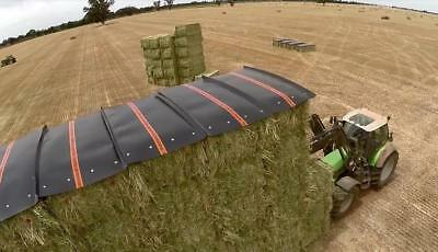 21 x Hay Caps 8x4ft Including Screw In Pegs Covers Poly Plastic Square Bale