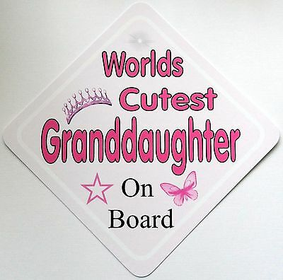 Handmade Worlds Cutest Granddaughter Baby on Board Car Sign ~ Pink