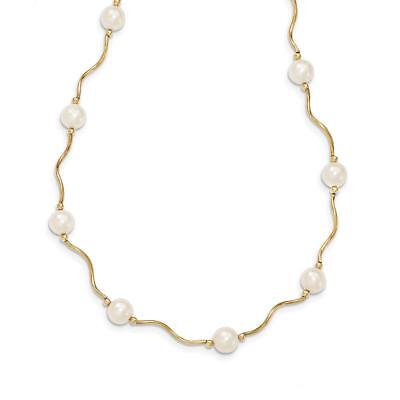 14k Yellow Gold Curved Bead and 6-7mm FW Cultured Pearl Necklace XF563-18