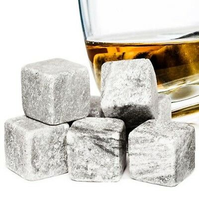 Whiskey Stones Reuseable Ice Cubes 9pc Granite Drinking Stones Velvet Pouch