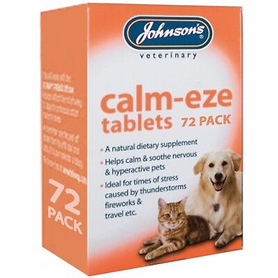 Johnsons Calm-Eze 72 Tablets Calms Nervous Soothes Hyper Active Dog Cat Remedy