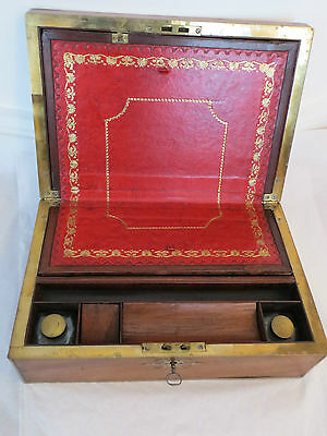 Antique Georgian Mahogany Brass Bound English Writing Slope / Box c.1770 Leather
