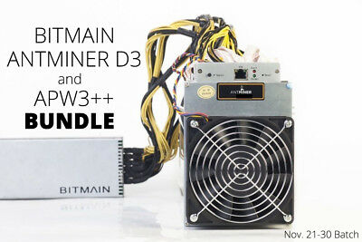 Bitmain Antminer D3 19 GH/s ASIC Dash Miner with APW3++ PSU (Days Used for Test)