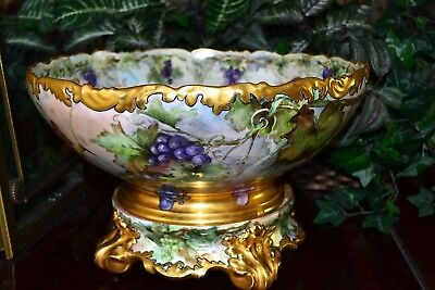 Limoges Huge Signed Punch Bowl with Grapes, Cherubs/Putti & Matching Plinth