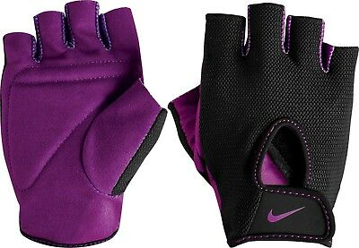 Nike Women,s Fundamental Training Gloves - Sports Gym Fingerless - Black Berry