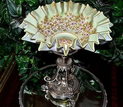 Brides Basket: Green Satin Bowl Heavy Pink/Gold Floral in Elkington Tall Basket