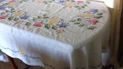 Vintage Hand Embroidered  Tablecloth White Blue Red Yellow Flowers
