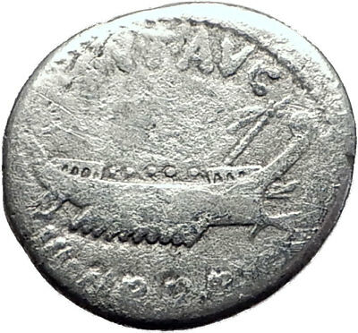 MARK ANTONY Cleopatra Lover 32BC Authentic Ancient Silver Roman Coin SHIP i64867