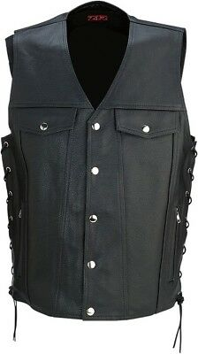 Z1R Adult Motorcycle Leather 30-30 Vest Black S-5XL