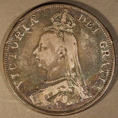 1889 Great Britain Double Florin Silver Nice            ** FREE U.S. SHIPPING **