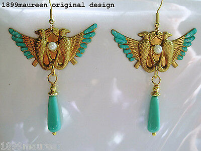 Egyptian Revival Art Deco earrings 1920s Art Nouveau vintage style turquoise