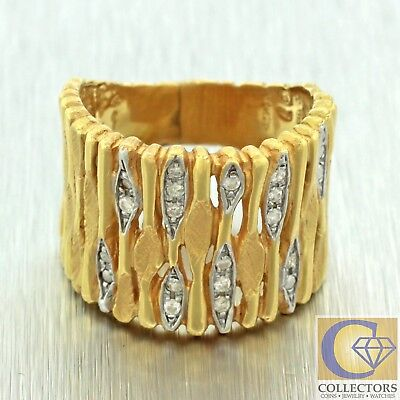 Vintage Estate 18k Solid Yellow Gold 0.14ct Diamond Wide Band Ring