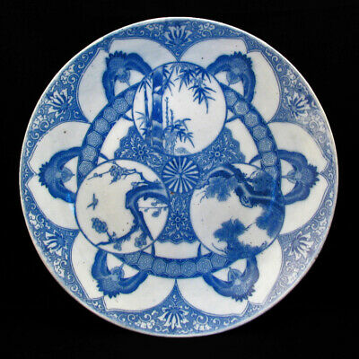 Large Igezara blue and white Japanese porcelain charger of three winter friends