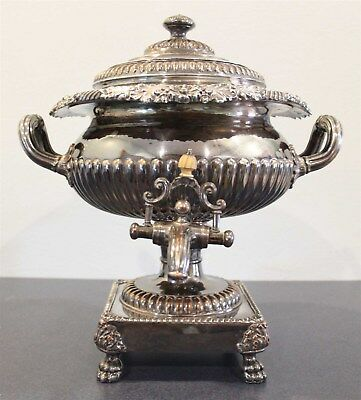 Vintage Large Silver Plate Samovar Coffee Urn Acorn Footed w/ Handles Warmer FP