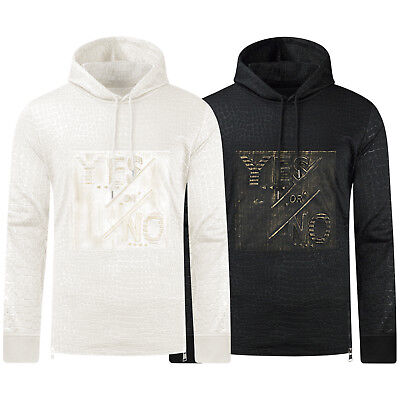 NEW Men Reptile Scales Sweater Pullover Yes Or No Black White Size S-XL