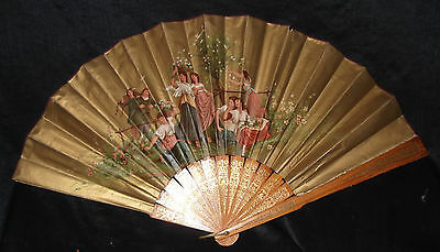 Antique Paper Wooden Victorian Lady's Folding Fan Gold Chromo-lithograph Spring
