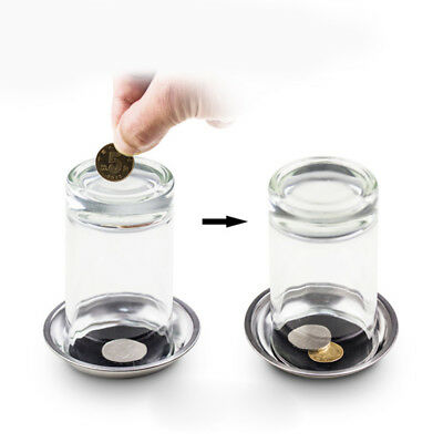 Coin Thru Into Glass Cup Tray Close Up Easy Gimmick Magic Trick Props  New Hot