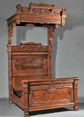 Antique 1870's American Carved Burl Walnut Half Tester Three Piece Bed room Set.