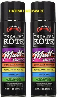2 X CLEAR COATING MATTE  VARNISH HELMAR CRYSTAL KOTE 400g PERMANENT ACID FREE