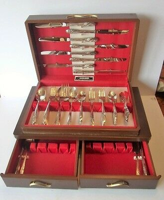 "Vintage 56 Piece Holmes & Edward ""deep Silver"" Silverware Flatware And Chest"