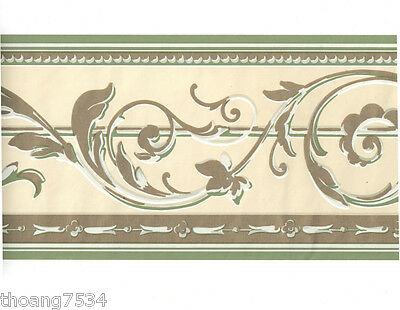 Sage Green Cream Metallic Gold Shiny Acanthus Leaf Scroll Bead Wall paper Border