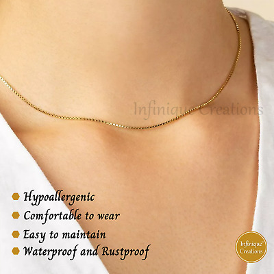 """Gold Plated Stainless Steel Box Chain Necklace Men Women 1mm to 4mm 7"""" to 38"""""""