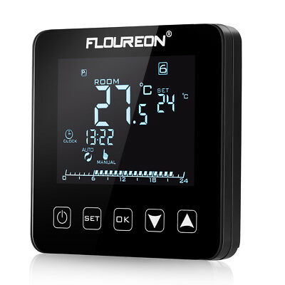 digital touch lcd electric thermostat fu bodenheizung. Black Bedroom Furniture Sets. Home Design Ideas