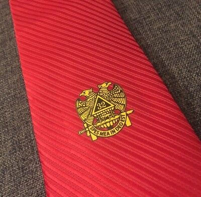 Masonic Red Woven Tie Freemasons Master Shriners Necktie Suit gift Shiny