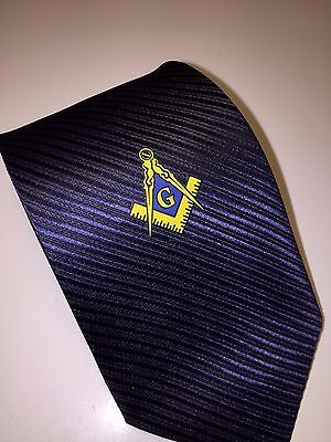 Masonic Woven Tie Navy Blue Freemasons Square and compass Suit Master Necktie