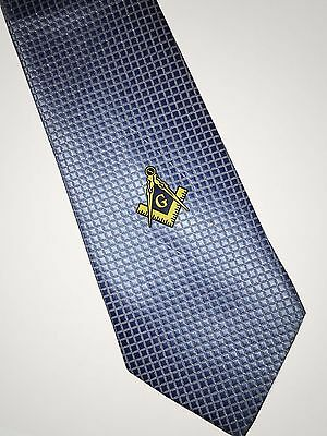 Masonic Woven Tie Light Blue Freemasons Square and compass Suit Master Necktie