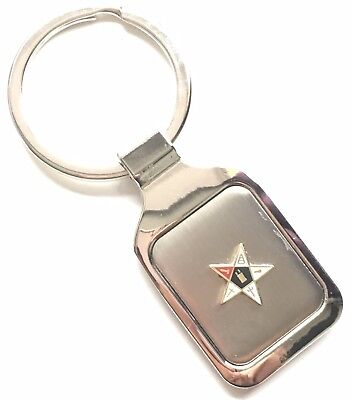 Personalised Engraved Masonic Eastern Star Crested Key Ring + Pouch (K014)
