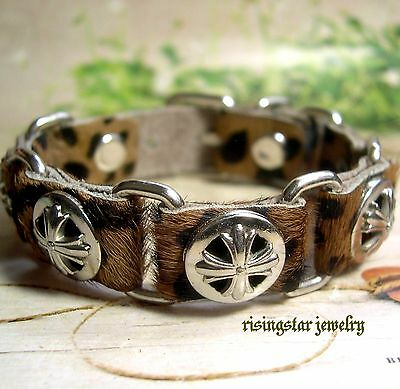 Elegant Trinity Cross With Leopard Skin Fur Style Leather Hip Character Bracelet