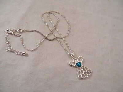 NWT Silvertone Chain with Angel Pendant & Blue  Heart Stone (#4080)