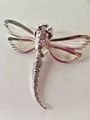 """Dragonfly Pendant Pin Wire filagree Jewelry Wiggly Tail Crystal accents 1.75"""" L"""