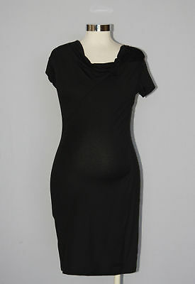 New Japanese Weekend Maternity Nursing Casual Black Heather T-Shirt Dress S 6 8