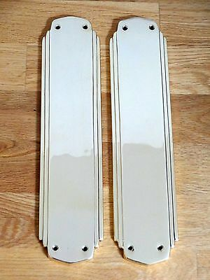 Pair Finger Plates Art Deco Cast Brass Door Push Fingerplate