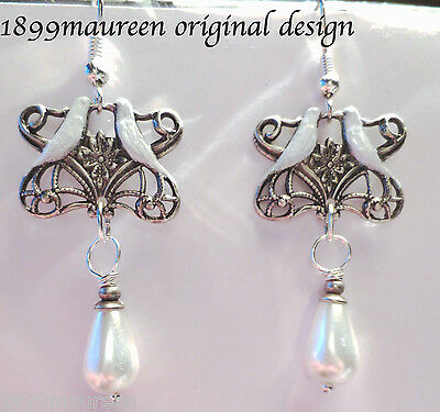 Art Nouveau Art Deco earrings Edwardian wedding 1920s vintage style bridal pearl