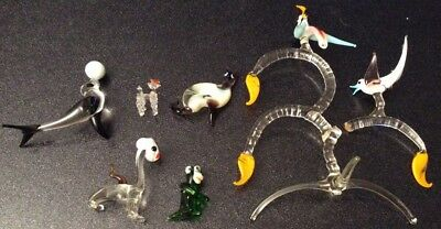 Six Vintage Murano Art Glass Animal Figurines Seal, Monkey, Cat, Dogs, Birds