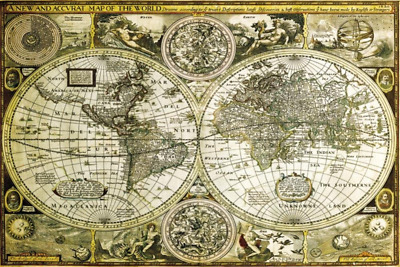 Antique style world map poster print size 36 x 24 sepia classical world map poster 36 x 24in gumiabroncs Image collections