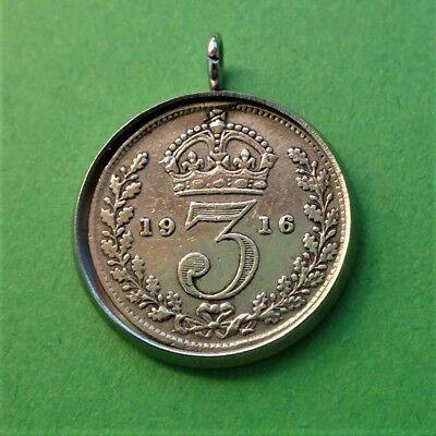 Genuine Antique .925 Stirling Silver Threepence Pendant