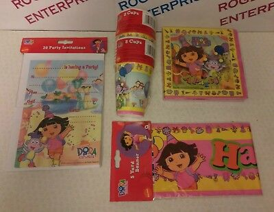 DORA THE EXPLORER Birthday Party for 16 Banner/Serviettes/Cups/Invitations/Gifts