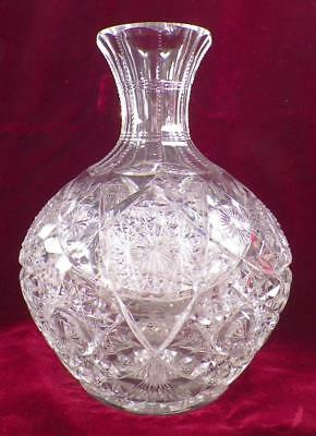 American Brilliant Cut Glass Water Wine Carafe Decanter Hobstars Antique As Is