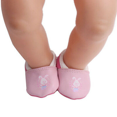 1 Pair Pink Rabbit Leather Shoes Wear Fit 43cm Baby Born Doll Kids Toy Gift ESUS