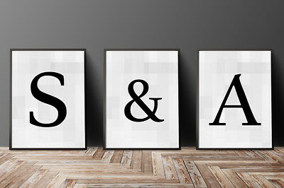 Initial Monogram Single Letters  Print - Personalised Typography Letter Print